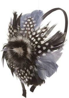 Magid Multicolored Feather Headband Black
