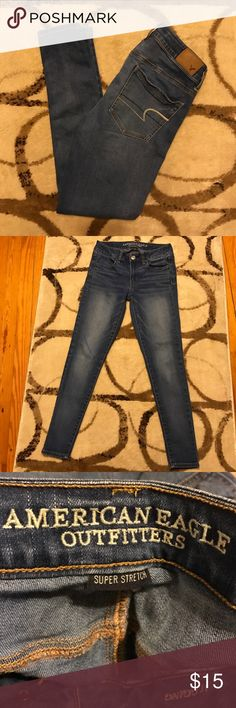 American Eagle Blue Jean Jeggings AEO blue jean Jeggings in excellent condition.  No signs of wear & no stains. Size 2--Short. American Eagle Outfitters Jeans