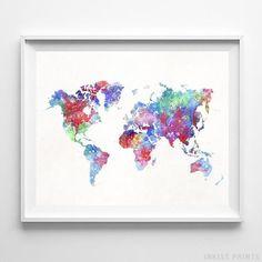 23 Watercolor World Map Wall Art Print By Inkist Prints Ideas World Map Wall Art Map Wall Art World Map Wall
