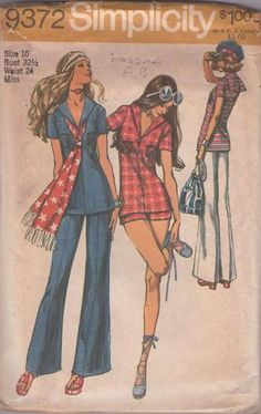 MOMSPatterns Vintage Sewing Patterns - Simplicity 9372 Vintage 70's Sewing Pattern AHOY! Nautical Mod Sailor Collar Blouse, Front Zipper, Ov...