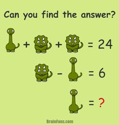 Can you find the answer? There are two animals - triceratops and brontosaurus. I bet you know all of them. Nevertheless, do you also know the answer for this number math puzzle? Maybe it's not that straightforward.