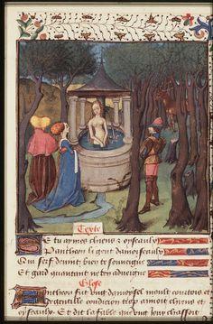 The judgement of Paris ----The Hague, KB, 74 G 27 .   Christine de Pisan, L'Epistre d'Othea Place of origin, date:  Auvergne(?); c. 1450-1475       http://manuscripts.kb.nl/show/manuscript/74+G+27
