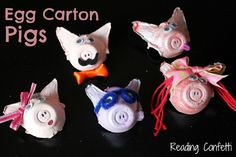 Pigs made from recycled egg cartons  should be able to adapt easily for puppets