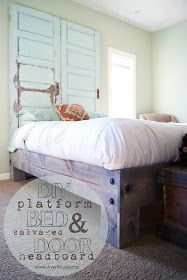 DIY Bed - like these chunky feet...would love to do our own bed with stained pallet headboard.