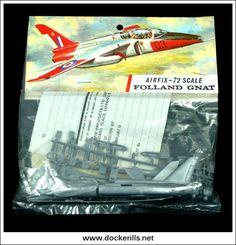 Vintage Models, Old Models, Plastic Model Kits, Plastic Models, Folland Gnat, Airfix Models, Airfix Kits, Striped Bags, Scale Model