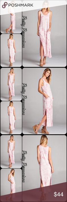 """NWT Tie Dyed Pink Blush Slit Hem Maxi Dress NWT Tie Dyed Pink Blush Slit Hem Maxi Dress  Available in S, M, L Measurements Small  Length: 54"""" Bust: 36""""  Medium  Bust: 38""""  Large Bust: 40""""  Rayon/Spandex  Features • hidden side pockets • 19"""" slit accent each side bottom hemline • super soft, jersey material w/stretch • scooped neckline • sleeveless • relaxed, easy & accommodating fit  Bundle discounts available  No pp or trades   Item # 1/2PP03150440PBMD white pink blush tie dyed maxi dress…"""