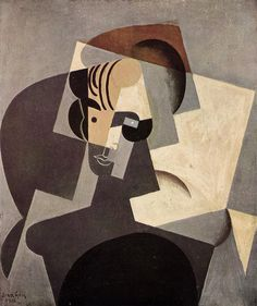 Juan Gris , Portrait of Josette Gris, 1916. One of Gris's greatest achievements, the Portrait of Josette is based on his studies of Corot and Cézanne. He integrates foreground & background elements on 1 plane. This feat is accomplished primarily thru color rhythms that unite differing spatial planes. The blacks, employed, to signify bosom, derriere, & leg, as well as the shadow of the figure, all occupy places on the forward plane.