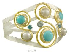 Blue Topaz, Baby Blue Topaz, Turquoise and Fresh Water Pearl Cuff  - Eucalyptus Island Collection