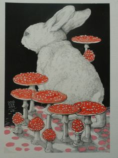 Hare and mushrooms