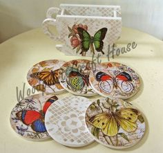 Glass Coasters, Rice Paper, Painting On Wood, Quilling, Home Crafts, Decoupage, Stencils, Decorative Plates, Craft House