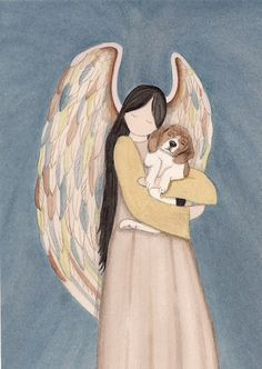 Beagle cradled by angel / Lynch signed folk art print by watercolorqueen on Etsy