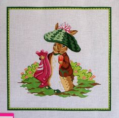 Christmas Santa Bunny Rabbit By Dede Hand painted Needlepoint Canvas