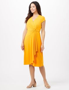 Faux wrap crepe texture dress with darling D- ring hardware at waist. Cap sleeves faux wrap crepe texture D-ring hardware at waist Length Dress Bra, Knit Dress, Weave Ponytail Hairstyles, Scuba Dress, Tie Dye Hoodie, Tiered Dress, Faux Wrap Dress, Crepe Dress, African Fashion