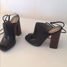 "Reed Krakoff Black Leather Bridle Booties Size 7 Black leather ankle tie wood heel bridle booties. 4 3/4"" Stacked wooden heel with 3/4"" platform. Size EUROPEAN 37 / USA 7. Worn only once. Great condition. Original box included.  Made in Italy. Offers accepted. Reed Krakoff Shoes Heels"