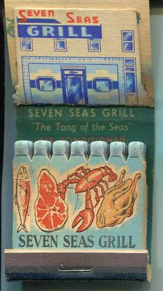 Seven Seas Grill 1940s Pop Up Easel Feature Matchbook Washington DC Seafood | eBay