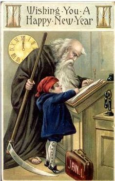 Father Time & Baby New Year Postcards Happy New Year Greetings, New Year Greeting Cards, New Year Wishes, New Year Card, Vintage Cards, Vintage Postcards, Baby New Year, New Year Postcard, Father Time