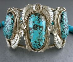 102G Museum Quality Old Pawn Navajo Spiderweb Boulder Turquoise Cuff Bracelet