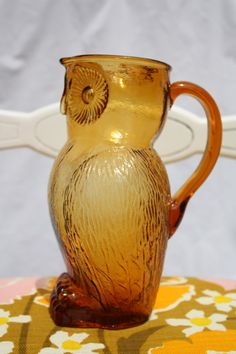 Vintage Amber Glass Owl Pitcher