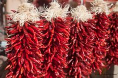 Red Chili Peppers, have these hanging inb my kitchen. Country Western Parties, Red Chili Peppers, Southwest Decor, Dating Divas, Red Green, Yellow, House Colors, Red Color, Lilac