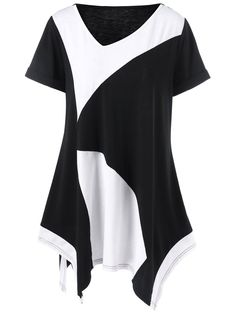 $8.58Cuffed Sleeve Asymmetrical Plus Size T-Shirt in White And Black | Sammydress.com
