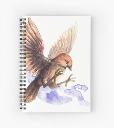 Litle and cute bird. Spiral Notebook with a Sparrow. A cute little bird. Adorable and lovely. A nice watercolor illustration of bird. Framed Prints, Canvas Prints, Art Prints, Spiral Notebooks, Notebook Design, Cute Birds, Watercolor Illustration, Glossier Stickers, Sell Your Art