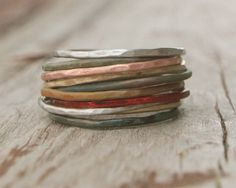 Stacking Skinny Rustic Rings Silver Gold Copper Patina Rings TEN Stacking Hammered Brushed Soldered Delicate Simple Chic Spring Fashion, via Etsy. Jewelry Rings, Silver Jewelry, Jewelry Accessories, Jewelry Design, Silver Rings, Gothic Jewelry, Opal Rings, Diamond Jewelry, Jewlery