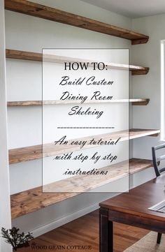 Dining Room Open Shelving How to build wall to wall open shelving! DIY storage home decorating with The Wood Grain CottageHow to build wall to wall open shelving! DIY storage home decorating with The Wood Grain Cottage Diy Storage House, Diy Storage Shelves, Toy Shelves, Seat Storage, Storage Ideas, Dining Room Shelves, Rustic Wall Shelves, Wooden Shelves, Br House