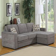 This charcoal sofa set made by Lucas has a sectional design that will provide plenty of seating. Designed for smaller spaces, the sectional sofa is constructed of sturdy hardwood and upholstered with a durable polyester and nylon blend fabric. Couch With Ottoman, Couch With Chaise, Couch Set, Small Chaise Sofa, Small Couch, My Living Room, Home And Living, Living Room Decor, Sofa Design