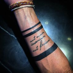 Solid Black Mens Armband Tattoo With Quote Cursive Lettering Design
