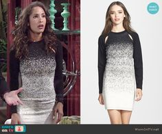 Lily's black and white ombre long sleeved dress on The Young and the Restless.  Outfit Details: http://wornontv.net/53408/ #TheYoungandtheRestless