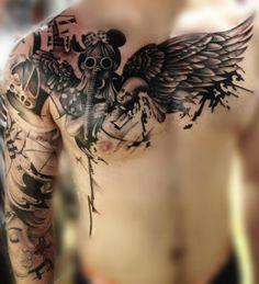 Interesting tattoo by Nic Westfall #InkedMagazine #original #art #gasmask #minnie #chest #tattoo #tattoos #Inked