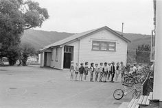WAINUIOMATA School - 27 February 1986 - with children lining up in front of a building - It had been suggested that this old school building could. School Building, Old Photos, Old School, Outdoor Decor, Home Decor, Old Pictures, Decoration Home, Room Decor, Vintage Photos