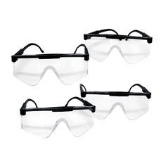 4 Pk Super Tough US Military Safety Glasses : New & Unissued, this 4 pack of Mil-Spec safety glasses has clear lenses. Clear lens are the best choice for ballistic eye protection, low light and night conditions. These will stop a 15 caliber steel pellet at 650 feet per second...now that's tough! Designed to fit all types of faces comfortably 24/7. Comes with retaining strap, 2 sets temples (cable and spatula), both are adjustable for length and cushioned nose piece.