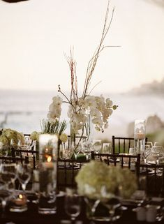 Four Fun and Beautiful Beach Wedding Reception Decor Ideas Beach Wedding Reception, Beach Wedding Flowers, Luxe Wedding, Wedding Reception Decorations, Wedding Centerpieces, Summer Wedding, Orchid Centerpieces, White Centerpiece, Beach Dinner