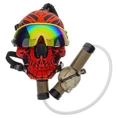 Red Skull Gas Mask with Skull Tube is a gas mask bong with Acrylic Skull Tube, attached by clear tubing, and stylish polarized glasses.