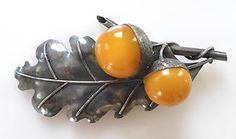 Vintage Genuine Baltic Butterscotch Amber Sterling Silver Brooch Pin 925 Acorn | eBay
