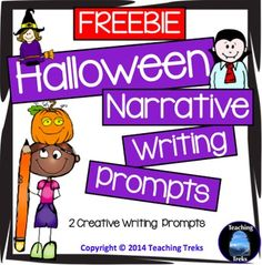Halloween Narrative Writing Prompts FREEBIE has 2 fun and engaging writing prompts and a narrative writing structure poster - with a Halloween twist!