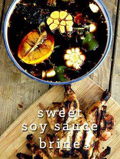 Sweet Soy Sauce Brine Recipe.  This is a great chicken brine or turkey brine.
