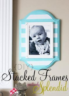 Positively Splendid {Crafts, Sewing, Recipes and Home Decor}: DIY Stacked Wall Frames-way too much trouble to me, but one of my crafty friends my like to make me one! Do It Yourself Design, Do It Yourself Inspiration, Do It Yourself Home, Cute Crafts, Crafts To Do, Diy Crafts, Decor Crafts, Foto Fun, Colorful Frames