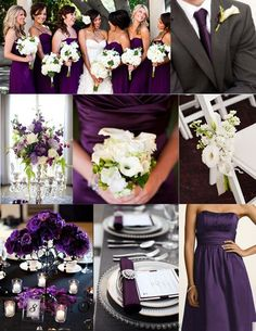 Possible shade of purple for bridesmaids gowns.  flowers to coordinate?  purple wedding color themes