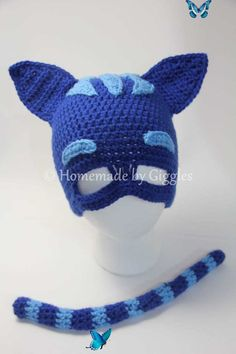 Find the free pattern for this Catboy-inspired crochet hat and tail in this blog post! Inspiration Halloween is coming up! When my nephew wanted to be Catboy for Halloween, I was happy to oblige! …<br> Crochet Toddler, Crochet Kids Hats, Crochet For Boys, Cute Crochet, Crocheted Hats, Crochet Crafts, Crochet Projects, Crochet Halloween Costume, Crochet Costumes