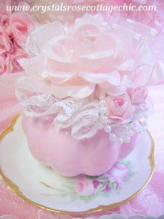 Sweet Pink Ceramic Pumpkin