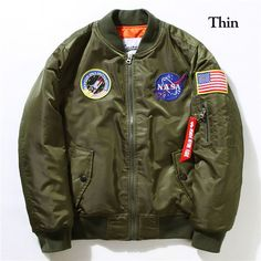 Flight Pilot Jacket Coat Bomber Ma1 Men Bomber Jackets Nasa Air Force Embroidery Baseball Military Coats M-XXL CD0002 CD0001