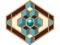 BJ's Broach/Pendant at Sova-Enterprises.com. Full color graph w/delica colors and amounts listed. Beadscape image included. The center bead snuggles right into an opening in the beadwork.