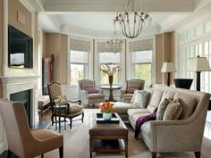 Niermann Weeks Italian Chandelier in this serene living room by Boston's Wilson Kelsey Design. niermannweeks.com #NiermannWeeks