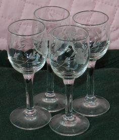 """Vintage Set of (4) Stemmed Cut Glass Cordial Glasses 4"""" Tall BLOW OUT SALE VINTAGE CUT GLASS STEMWARE CHEAPEST PRICE ANYWHERE $19.99OBO + $6.50 SHIPPING"""