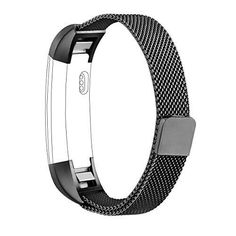 Fitbit Alta Band AK Adjustable Fitbit Alta HR bands (Compatible with Fitbit Alta 2016) Metal Wristband Strap with Magnetic Closure Clasp for Fitbit Alta HR Fitness Tracker (Black)