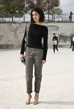 Spring style: chinos as an alternative to denim - look how great Caroline Issa looks