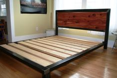platform bed ordered queen size with a cedar headboard  www.metalfred.com