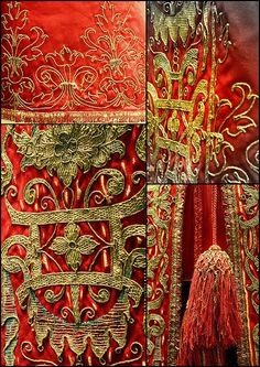 Details from a cloak with embroidery Victoria and Albert Museum - British Galleries. Photos by Kotomicreations Crazy Quilting, Textiles, Lesage, Passementerie, Gold Embroidery, Gold Work, Victoria And Albert Museum, Historical Costume, Cloak